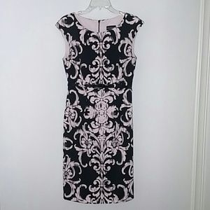 High Waist Sheath Dress, size 8. Pink and Black